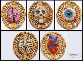 Polymer Clay Creepy Cameos by Evazgar