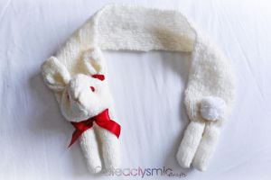 Fluffy Bunny Scarf with Red Roses by Cateaclysmic