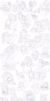 Commish: Totodile sketches by Nintendrawer
