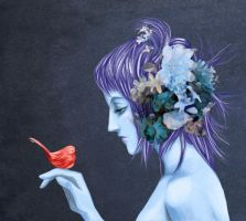 Blue Fairy, Red Bird by Rowein