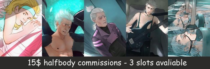 15$ halfbody commisions are opened! by Everybery