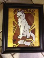 8x10 framed, painted leather Cat picture by hellcattheassassin