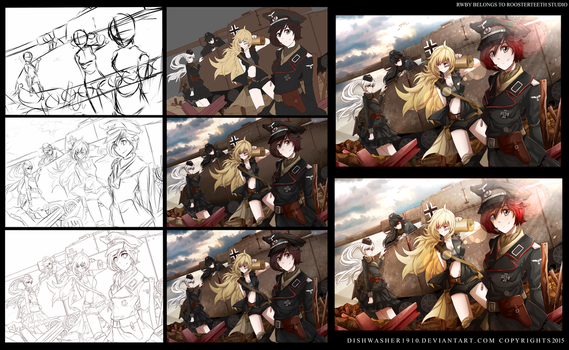 RWBY Und Panzer - Step by step process by dishwasher1910