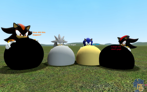 Sonic, Shadow, Silver and Ivan blown up by SonicInflationLover