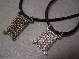 chainmail pendants by Bright-Circle