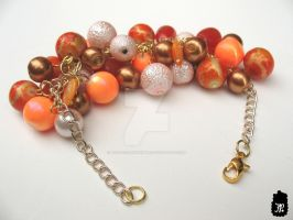 Orange Bobble Cluster Bracelet by TheFuzzyPineapple