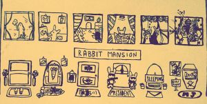 Rabbit mansion (ink on a cabinet!!) by kaylaluisikchi