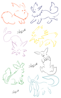 Few lines: eeveelutions by ShiNo-theWoLf