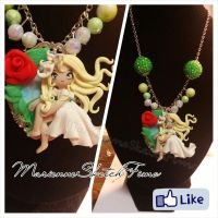 Handmade Necklace Fairy Cameo OOAK Polymer Clay by DarkettinaMarienne
