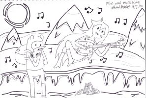 Adventure time Finn and Marceline Jamming by lelouch10