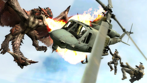 Rathalos attacking a helicopter by Pachyrhinosaurus