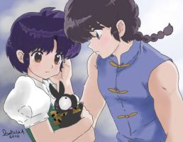 Ranma , Akane and p-chan by poweroftheunicorn