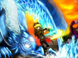 Dragon Mareina and Ezreal fighting against JAX by MelSpontaneus