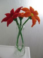 Pipe cleaner flowers with vase by DarkSaberCat