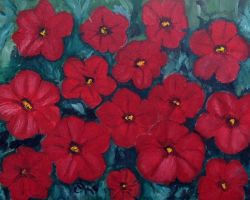 Bed of Red Petunias by CarolynYM
