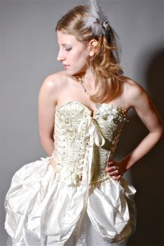 Corsetted Wedding Dress Front II by lovedthePilgrimSoul