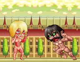 Female titan vs Bacon titan by gamblerichigo