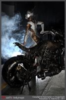 Dieselpunk Gynoid and the Robobike 2 by VictoriaGugenheim