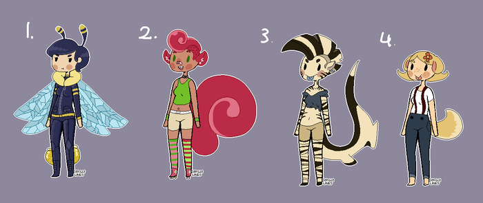 Creature Girl Adopts (OPEN!) by Mega-Monochrome
