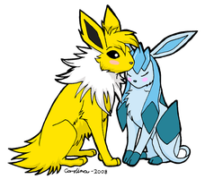 Jolteon x Glaceon by QueenCarolina