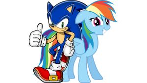 Sonic and Rainbow Dash Wallpaper by UmFpbmJvdyBEYXNo
