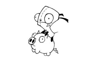 Gir Flying a Pig by CaptainStonebelly