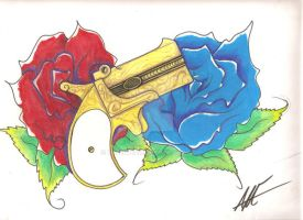 Derringer And Roses by estelleam