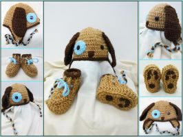 Puppy set: Boots + earflap hat by argentinian-queen
