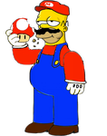 Homer Simpson as Mario by darthraner83