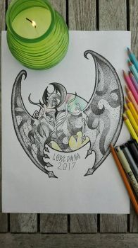 Lunala in dotwork [REQUEST] by BrutalityRythm