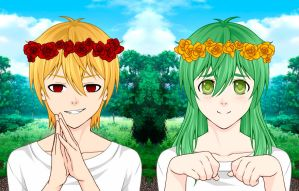 Gilgamesh and Enkidu by signore-illusionista