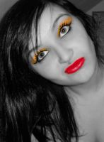 Black and white, yellow eyeshadow 5 by Bexiieeee