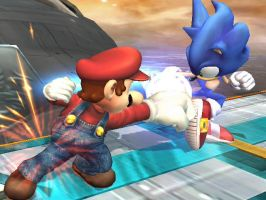 Mario and Sonic Brawl by dragonheart07