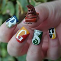 Sorting Hat Nail Art by KayleighOC