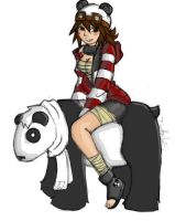Riden the Panda. by Roseflare