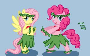 pinkie and fluttershy - request by KeikoWasHere