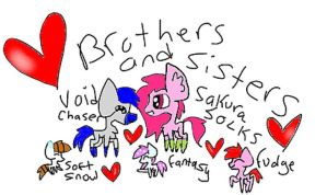 chibi brothers and sisters by Teal2Doubles
