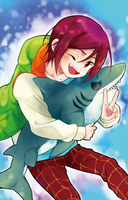 Free! : chibi Rin with shark by booombom
