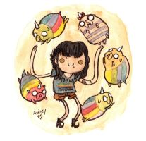 Audrey and the puppies by Iceland-Ink