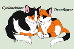 Cycloneblaze and Vixenflower-Ames High School Cats by ScarlettaTheCat