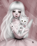 A doll with a white cat by NImFpa