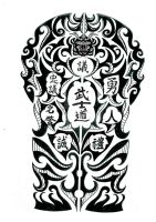 Bushido Japanese tribal tattoo by thehoundofulster
