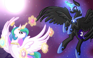 Celestia vs Nightmare Moon by Grimdark-Graveyeard