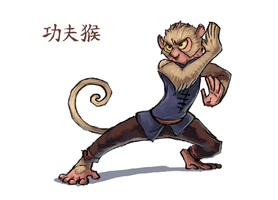 Kung fu monkey by Keaze