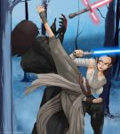 Rey fights Kylo Ren by xplotter