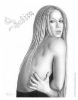 Shakira Pencil Drawing by OlgaBell