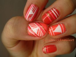 Tribal Nail Art in Coral (: by VeeviS2