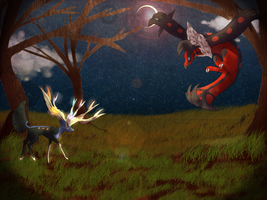 Yveltal and Xerneas by Tybirius