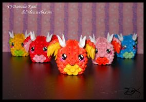 Mini Dragons -3D origami- by Delinlea