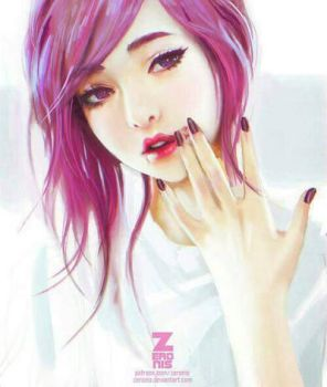 Korean girl with pink hair.  by ollison